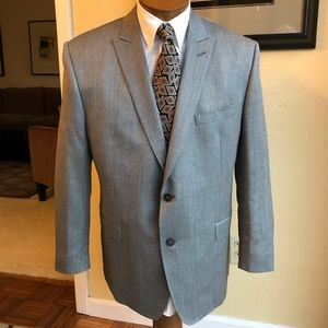 Calvin Klein Silk & Wool Herringbone Tweed 44R